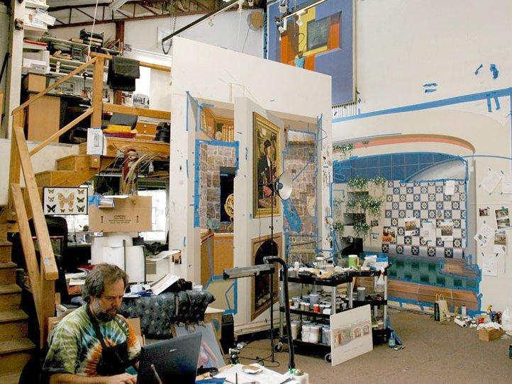 Trompe L Oeil Muralist John Pugh Artist Studio In California